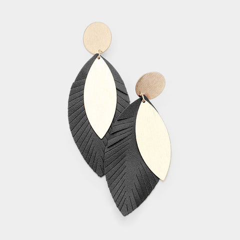 Black Textured Leaf Earrings
