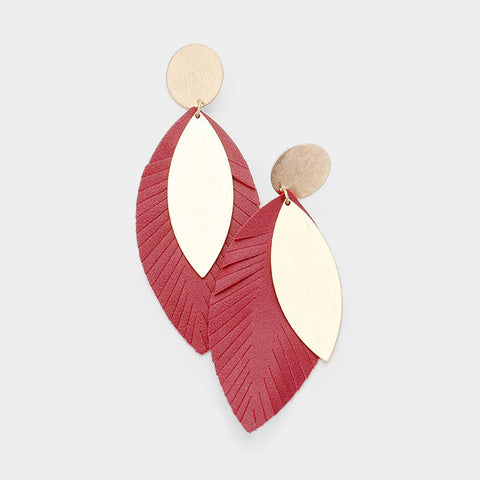 Red Textured Leaf Earrings