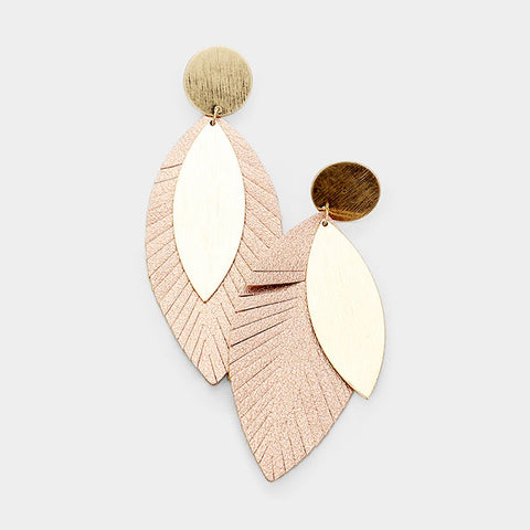 Rose Gold  Textured Leaf Earrings