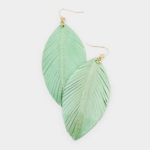 Mint Leather Leaf Earrings