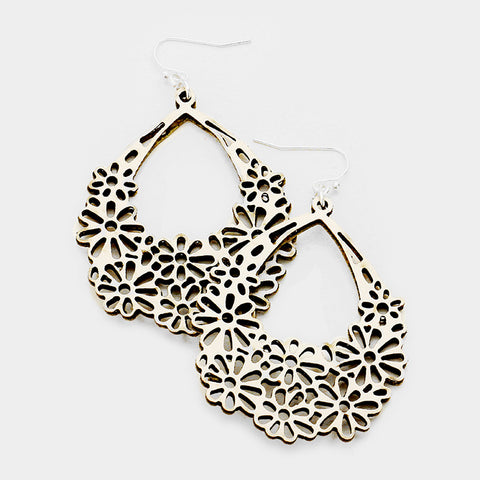 White Cut Out Floral Earrings