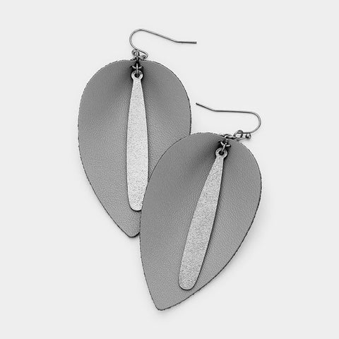 Gray Leather Dangle Earrings