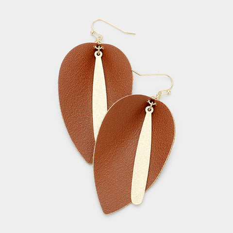 Brown Leather Dangle Earrings