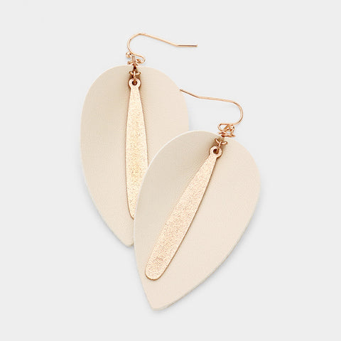 Beige and Rose Gold Leather Dangle Earrings
