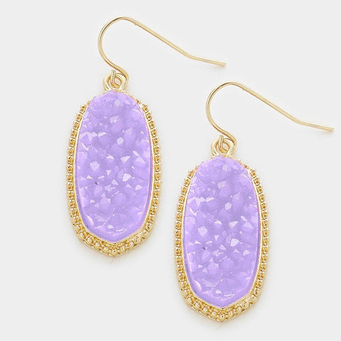 Lavender Druzy Earrings