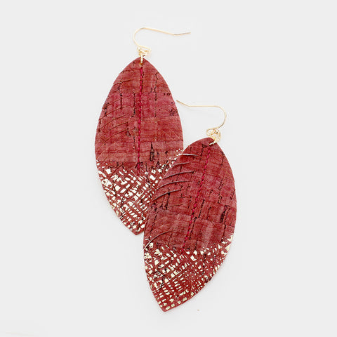 Burgundy Paint Splash Leather Earrings