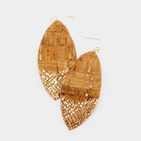 Brown Paint Splash Leather Earrings