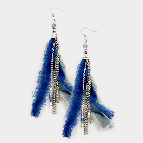 Blue Tassel Fringe Earrings