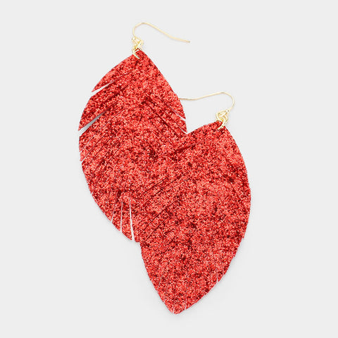 Red Glitter Leaf Earrings