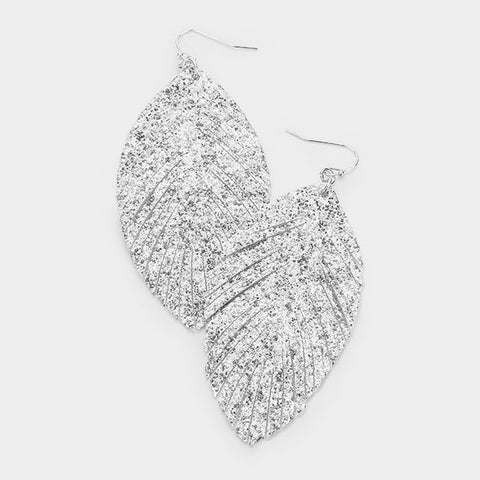 Silver Glitter Leaf Earrings