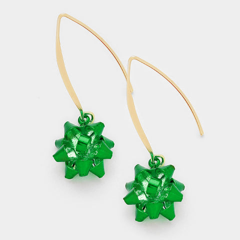 Green Gift Bow Earrings