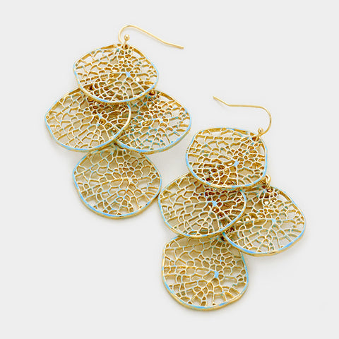 Gold & Light Blue Leaf Cluster Earrings