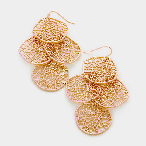 Peach Round Leaf Cluster Earrings