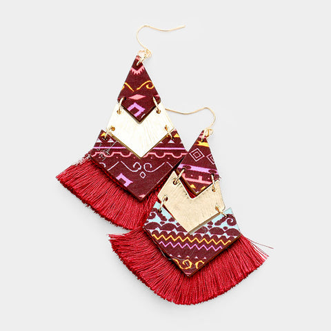 Burgundy Geometric Tassel Earrings