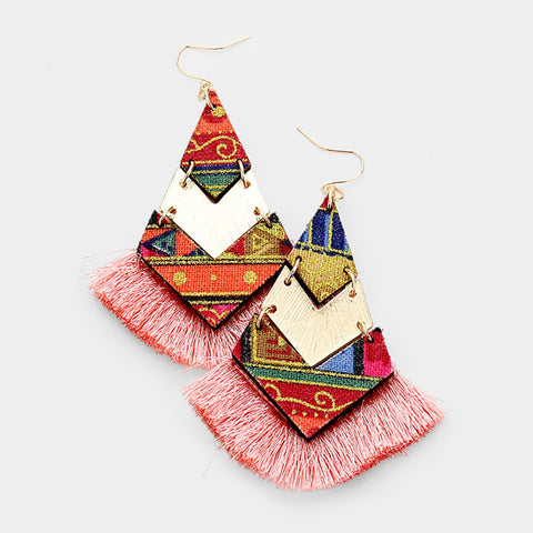 Pink Geometric Tassel Earrings