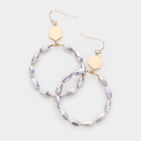 Gray Beaded Circle Earrings