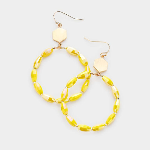 Yellow Beaded Circle Earrings
