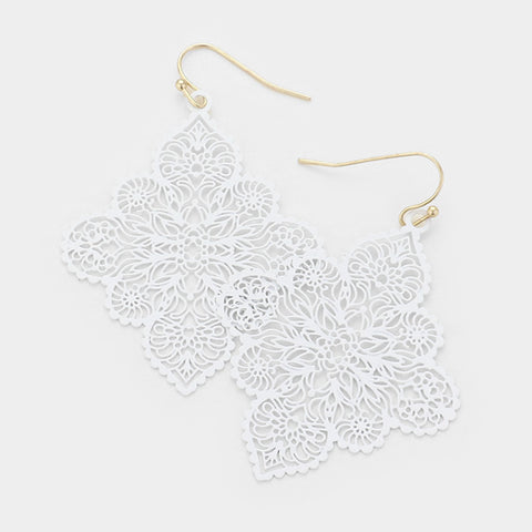 White Quatrefoil Earrings
