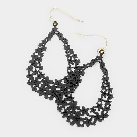 Black Filigree Dangle Earrings
