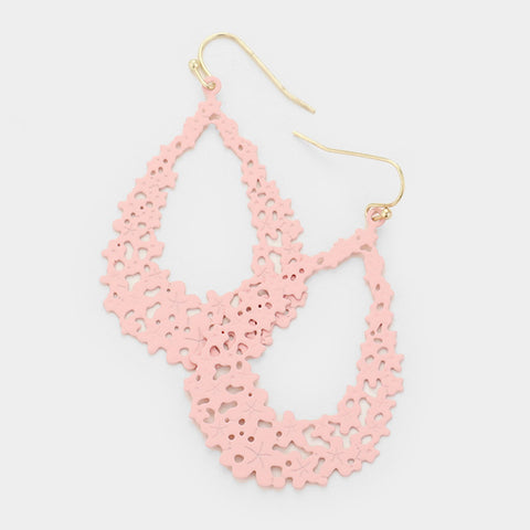 Pink Filigree Dangle Earrings
