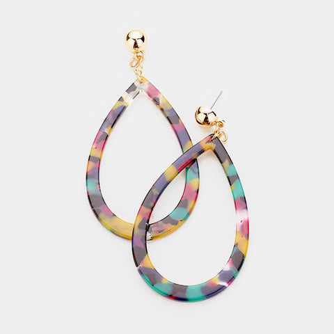 Multi Color Celluloid Teardrop Earrings