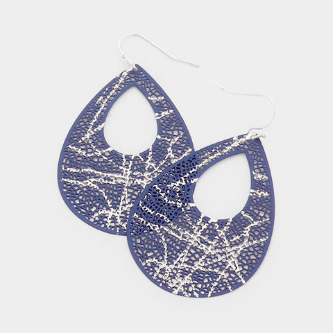 Blue Cut Out Hammered Metal Earrings