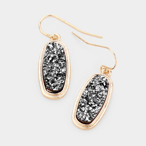 Gold Oval Druzy Earrings