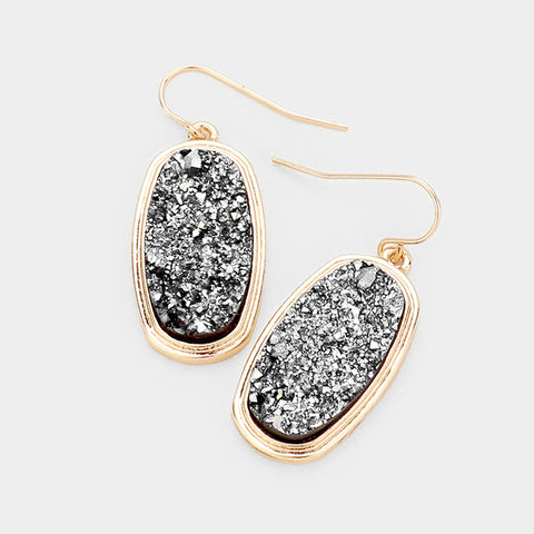 Hematite Oval Druzy Earrings