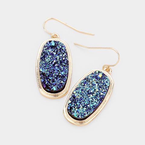 Blue Oval Druzy Earrings