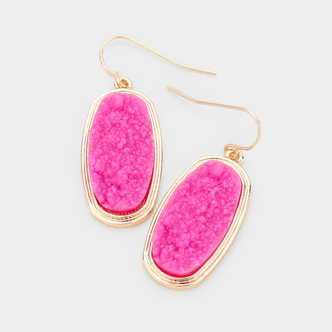Fuchsia Oval Druzy Earrings