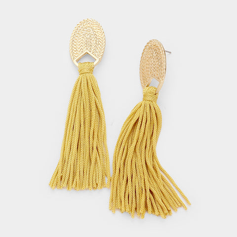 Mustard Tassel Dangle Earrings