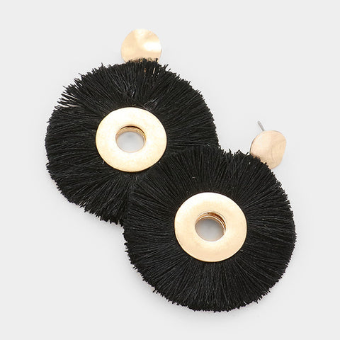 Black Round Tassel Earrings