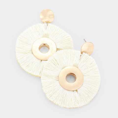 Ivory Round Tassel Earrings