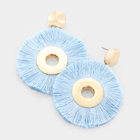 Blue Round Tassel Earrings