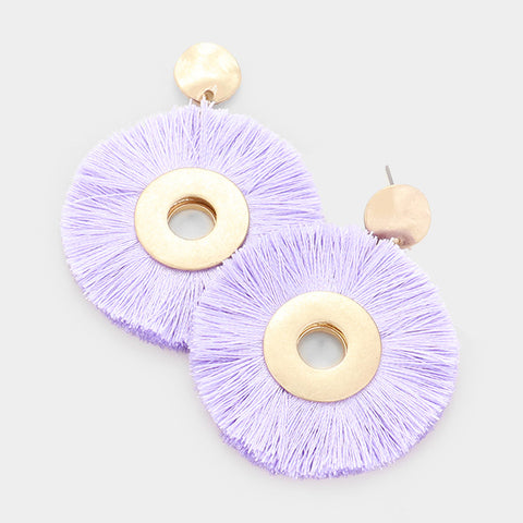 Lavender Round Tassel Earrings