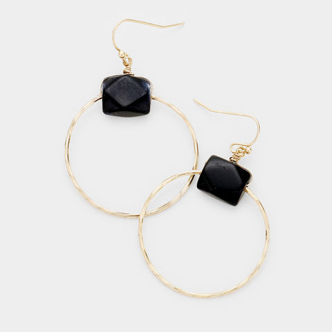 Black stone circle earrings