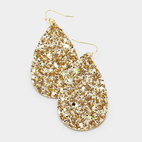 Gold Sequin Teardrop Earrings