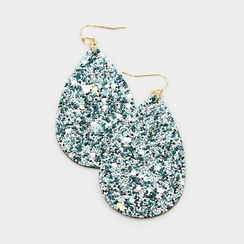 Teal Sequin Teardrop Earrings