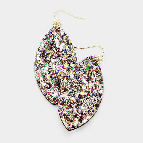 Multi Color Glitter Oval Earrings
