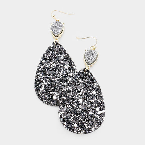 Hematite Druzy Teardrop Earrings