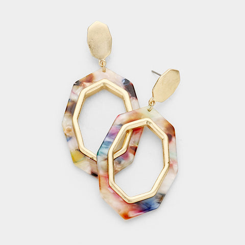 Multi Color Celluloid Octagon Earrings