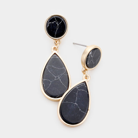 Black Marble Teardrop Earrings