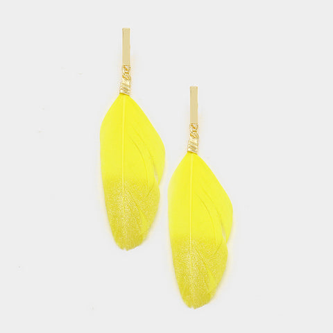 Yellow Feather Dipped Earrings