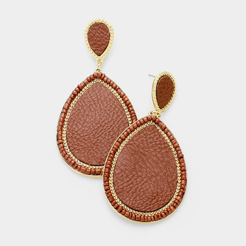 Brown Seed Bead Leather Earrings