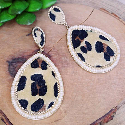 Leopard Seed Bead Teardrop Earrings