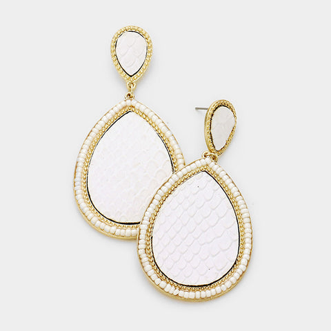 White Leather Teardrop Earrings