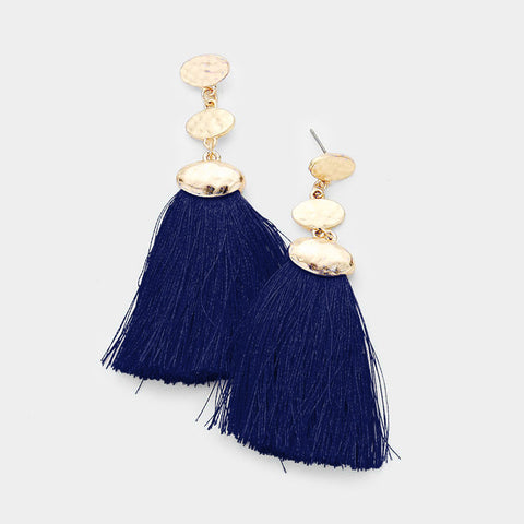 Navy Oval Tassel Earrings