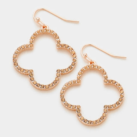 Rose Gold Quatrefoil Clover Earrings