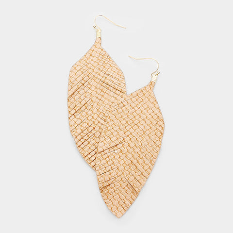 Tan Leather Leaf Earrings