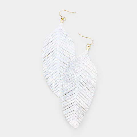 White Leaf Leather Earrings